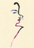 Abstract woman face. Fashion illustration.  - 187875740