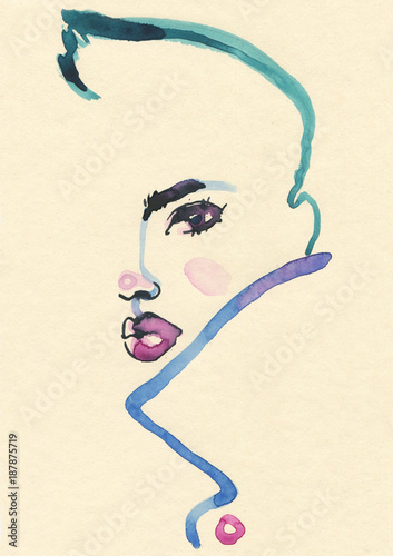 Abstract  face. Fashion illustration.