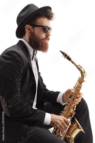 Jazz musician with a saxophone Poster