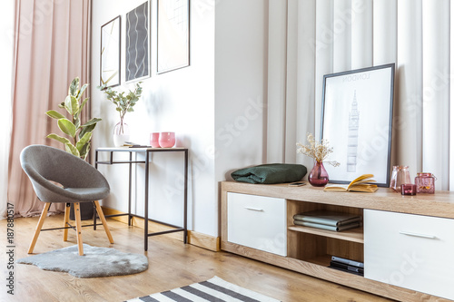 Height scale Woman's living room with poster