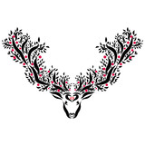Deer with large horns with trees and fruits - 187880907