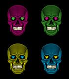 Graphic illustration of decorative Pop art skulls.