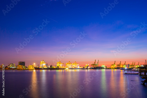 Landscape in the morning view of Klong Toey Port, the important logistic industrial in Bangkok, Thailand