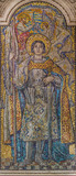 LONDON, GREAT BRITAIN - SEPTEMBER 17, 2017: Mosaic of St. Jane of Ark in Westminster cathedral and Blessed Sacrament Chapel designed by George Bridge (1910 - 1912).