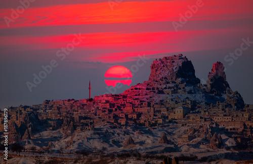 Poster Crimson Amazing view of Uchisar castle in Cappadocia