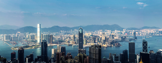 Panorama view of Hong Kong business district city skyline.