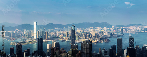 Foto Murales Panorama view of Hong Kong business district city skyline.