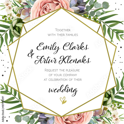 Wedding Invitation, floral invite card Design: Peach lavender pink garden Rose, succulent, wax, eucalyptus, green palm leaves, forest fern greenery geometric golden frame print. Vector cute copy space © Alewiena