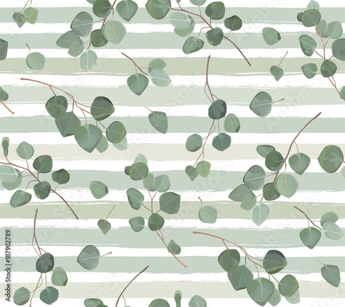 Cotton fabric Seamless pattern of Eucalyptus silver dollar tree natural branches with green tropical leaves in watercolor style. Vector decorative elegant greenery illustration isolated white stripped background
