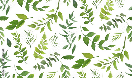Cotton fabric Seamless pattern of Eucalyptus palm fern different tree, foliage natural branches, green leaves, herbs, tropical plant hand drawn watercolor Vector fresh beauty rustic eco friendly background on white