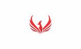 phoenix, bird, fire, fly, emblem symbol icon vector logo