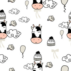 Vector grey animals seamless pattern with cows