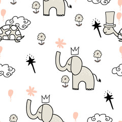 Vector grey animals seamless pattern with elephants