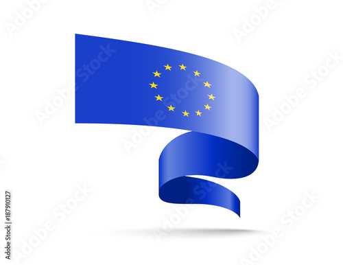 Flag of European Union in the form of wave ribbon. Vector illustration on white background.