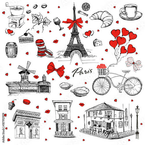 Set of hand drawn French icons, Paris sketch illustration - 187912979