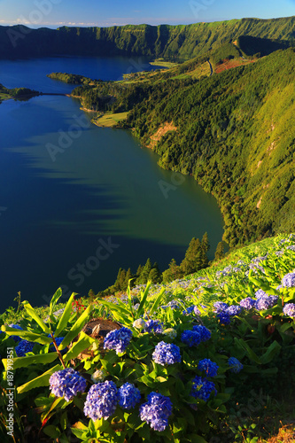 Foto op Canvas Natuur Lanscape from the volcanic crater lake of Sete Citades in Sao Miguel Island of Azores Portugal