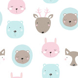 Seamless pattern with cute forest animals. Vector hand drawn illustration. - 187923902