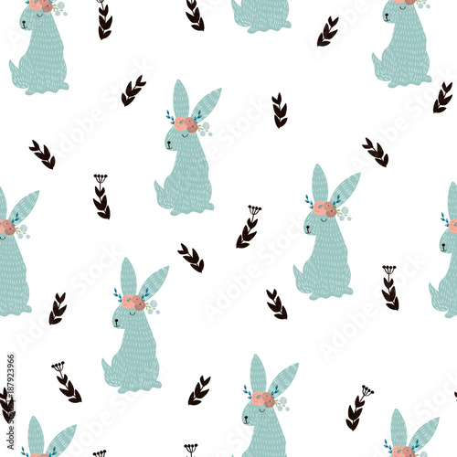 Cotton fabric Seamless pattern with cute bunny and branches with leaves. Vector hand drawn illustration.