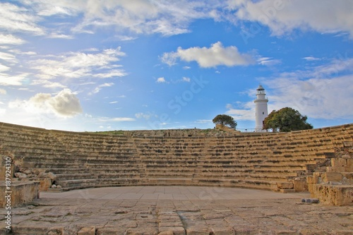 Foto op Plexiglas Cyprus Ancient amphitheater and lighthouse in Paphos, Cyprus