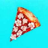Flower Pizza. Fast Food Art Flat lay minimal design - 187925903