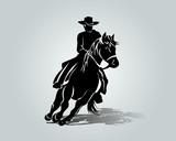 Vector silhouette of cowboy on a horse - 187926136
