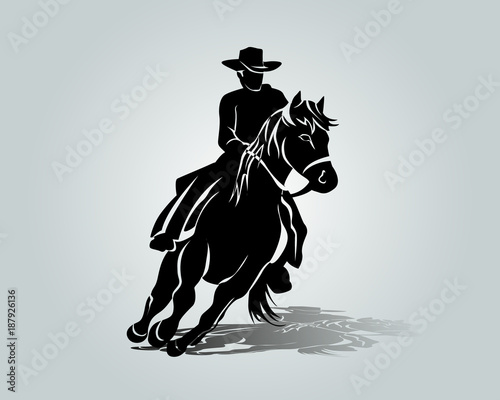 Vector silhouette of cowboy on a horse