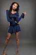 African American Female Model in Blue Dress