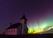 Northern Lights Aurora Borealis over a prairie church established in 1919 near Cabri, Saskatchewan, Canada