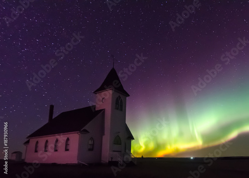 Aluminium Noorderlicht Northern Lights Aurora Borealis over a prairie church established in 1919 near Cabri, Saskatchewan, Canada