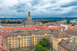 Aerial view of Dresden skyline on a cloudy day, Germany