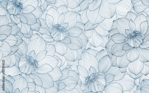Cotton fabric Seamless pattern with hand drawn dahlia flowers.