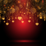 Valentine's Day background with hanging hearts