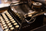 Close up of the letters on an old typewriter. - 187936941