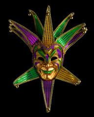 Colorful Mardi Gras mask isolated on black