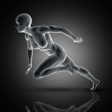 3D muscular female in sprinting pose