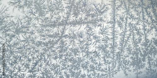 Foto Murales frost crystal on window glass in winter season