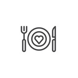 Romantic dinner line icon, outline vector sign, linear style pictogram isolated on white. Plate with fork knife and heart symbol, logo illustration. Editable stroke - 187949102