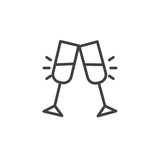 Cheers glass drink line icon, outline vector sign, linear style pictogram isolated on white. Toast symbol, logo illustration. Editable stroke - 187949113