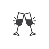 Cheers glass drink icon vector, filled flat sign, solid pictogram isolated on white. Toast symbol, logo illustration. - 187949114