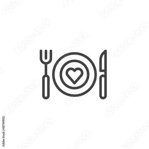 Romantic dinner line icon, outline vector sign, linear style pictogram isolated on white. Plate with fork knife and heart symbol, logo illustration. Editable stroke