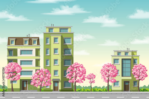 Foto op Canvas Pool Some houses with flowering trees