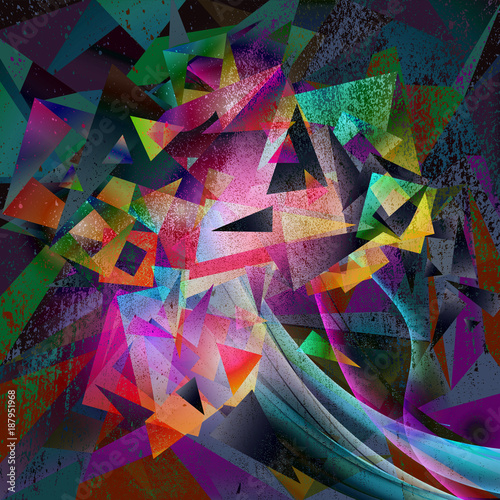 Fotobehang Reznik абстрактные красочные картины на черном фоне
