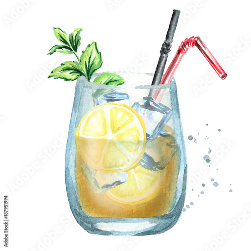 Glass of lemon ice tea. Watercolor hand drawn illustration