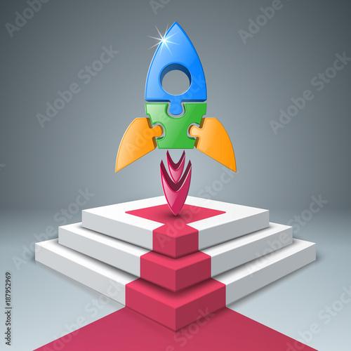 Fototapeta Rocket, ladder, stair icon. Abstract illustration Infographic.