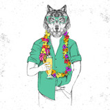 Retro Hipster animal wolf with tropic cocktail - 187953781