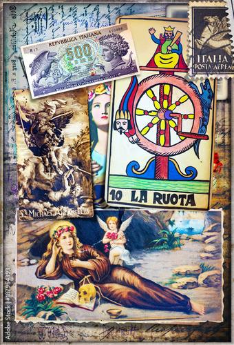 Papiers peints Imagination Collage bizzarri,esoterici e misteriosi con scrapbook e disegni