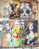 Collage con manoscritti e disegni bizzarri,esoterici,alchemici e misteriosi