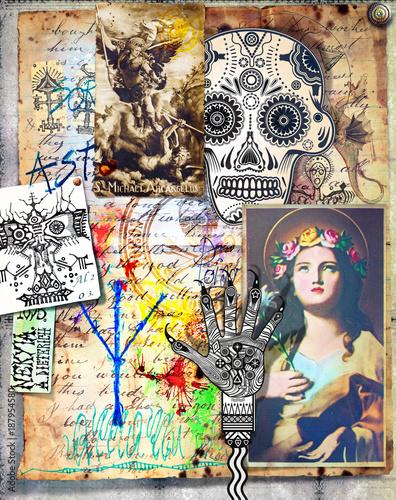 Papiers peints Imagination Collage con manoscritti e disegni bizzarri,esoterici,alchemici e misteriosi
