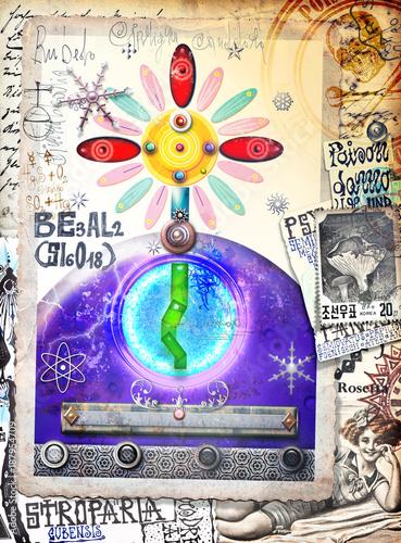 Foto op Canvas Imagination Graffiti,manoscritti e disegni,alchemici,esoterici e astrologici