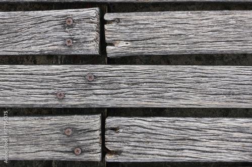 Closeup of rough weathered hardwood decking